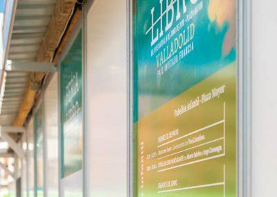"""Vinilos exteriores 1 - Diseño editorial - Maquetación de los soportes """"Feria del Libro de Valladolid 2019"""""""